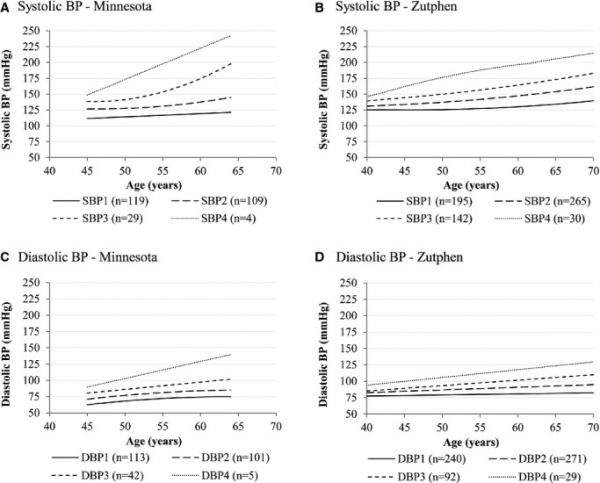 Trajectories of systolic (A, B) and diastolic (C, D) BP in 261 American men participating in the Minnesota Study and 632 Dutch men participating in the Zutphen Study.
